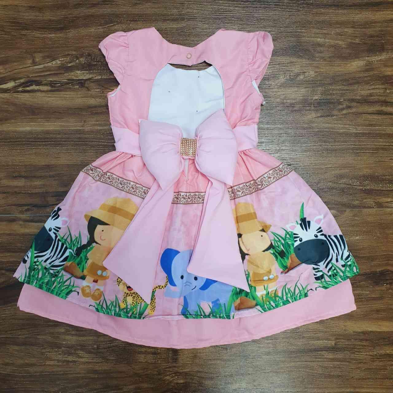 Vestido Safari Rosa Infantil