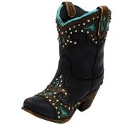 Bota Country Decorativa com Cano Preto
