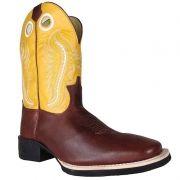 Bota Texana Show Horse Café com Cano Amarelo