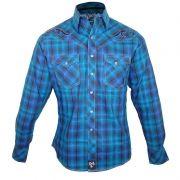 Camisa Country Masculina Wrangler Bordada Rocky Xadrez 47 MRC285M