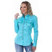 Camisa Feminina Zenz Western Turquesa ZW0119013