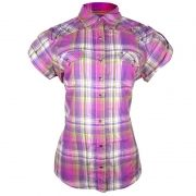 Camisa Country Wrangler Feminina Xadrez Com Cristais Lilás