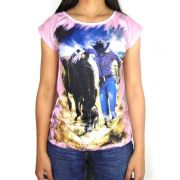 Camiseta Feminina Country Alabama Pink Horses