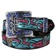 Cinto Country Feminino Arizona Beltz Caveira Tiffany Rosa