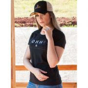 T-Shirt Ox Horns Femina com Strass Preta 6095