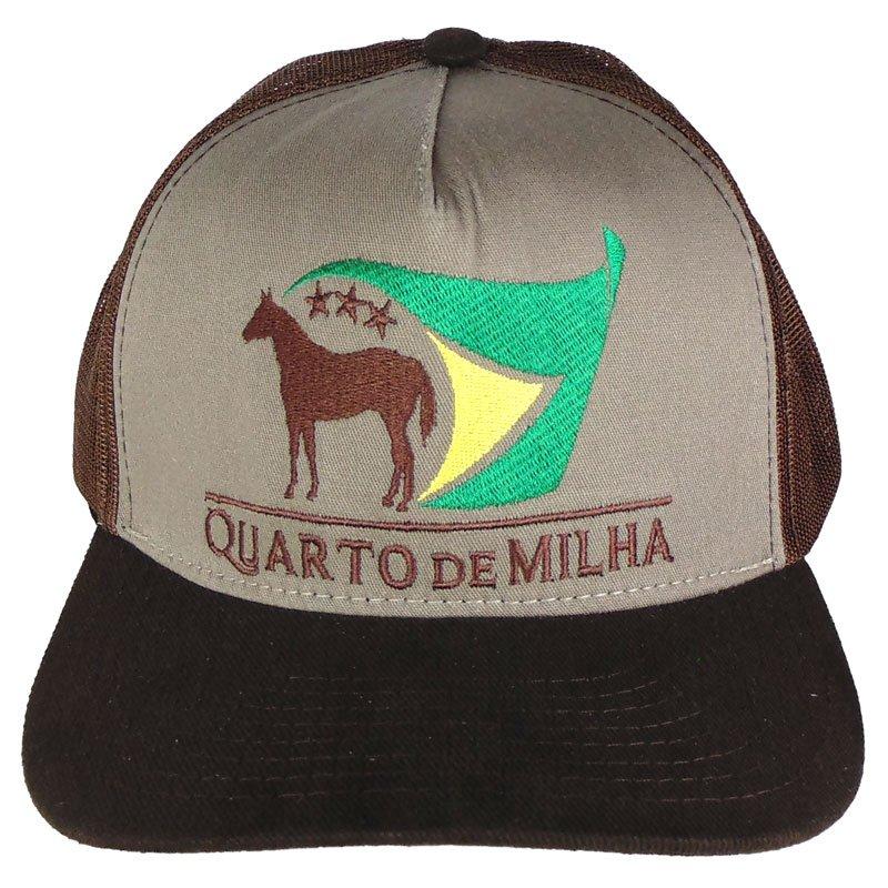 488d31b6b2504 Boné Country Quarto de Milha Aba Marrom Escura - Show Horse