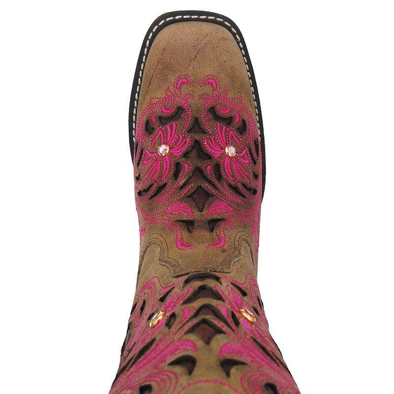 Bota Texana Feminina Goyazes Dallas Furta Cor com Rosa