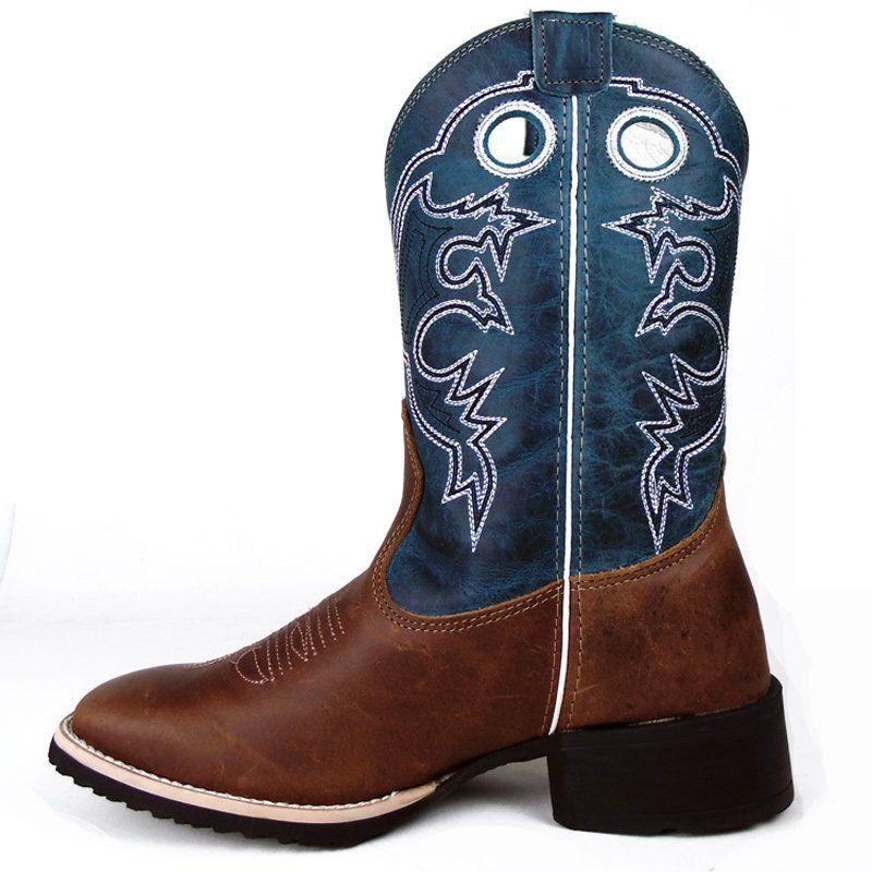 Bota Texana Show Horse Dallas Tabaco Cano Turquesa