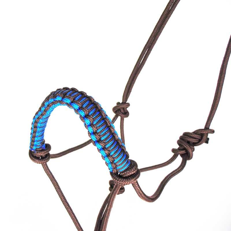 Cabresto com Cabo Para Cavalo em Nylon Marrom e Azul