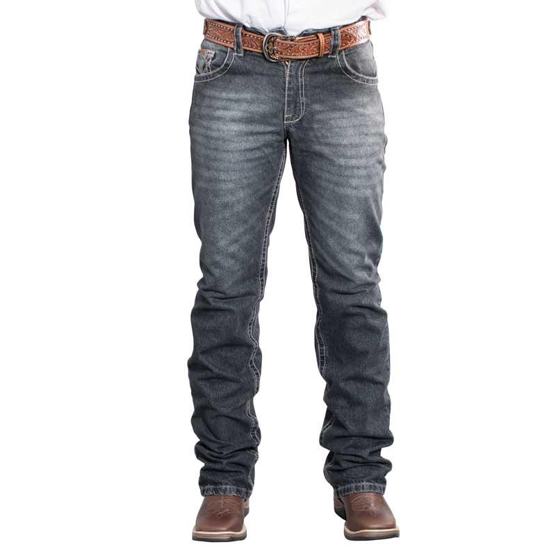Calça Jeans Preta Masculina Docks Bordada 2554