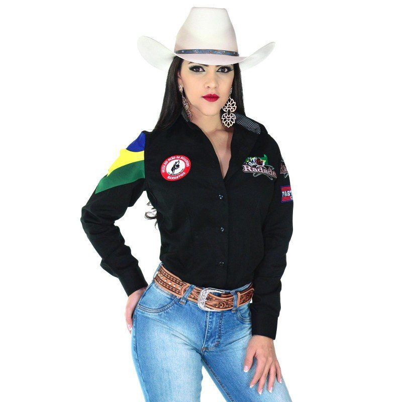 Camisa Country Feminina Radade Barretos Preta - Show Horse 78ac7b010ed