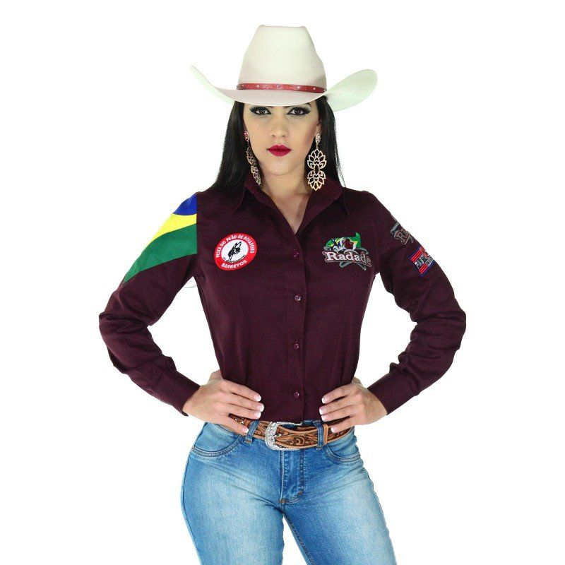 Camisa Country Feminina Radade Barretos Vinho - Show Horse ce69632480c