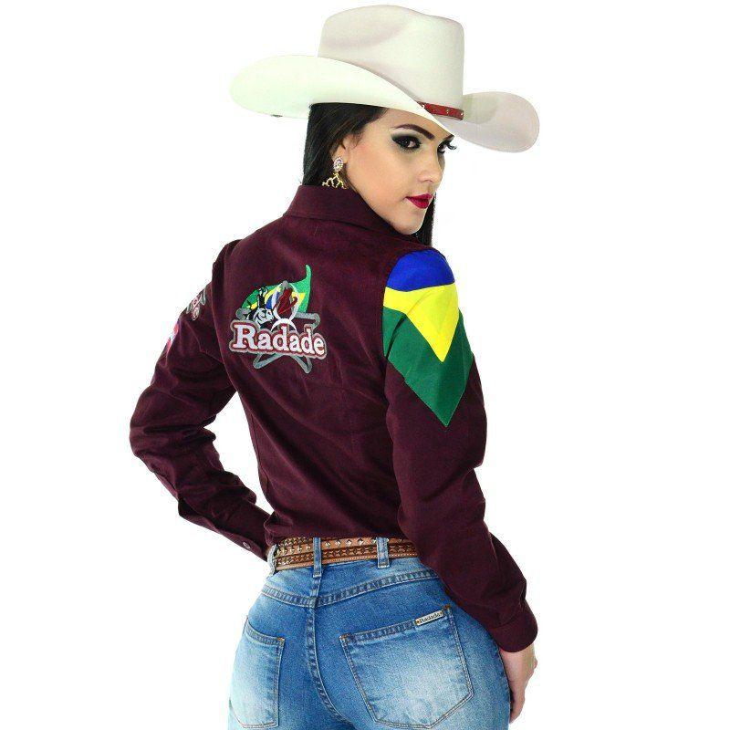 Camisa Country Feminina Radade Barretos Vinho - Show Horse 695cbec360f