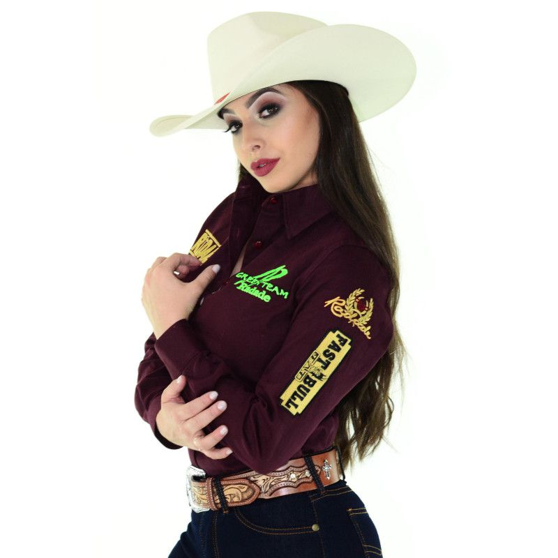 Camisa Country Feminina Radade Green Team Vinho