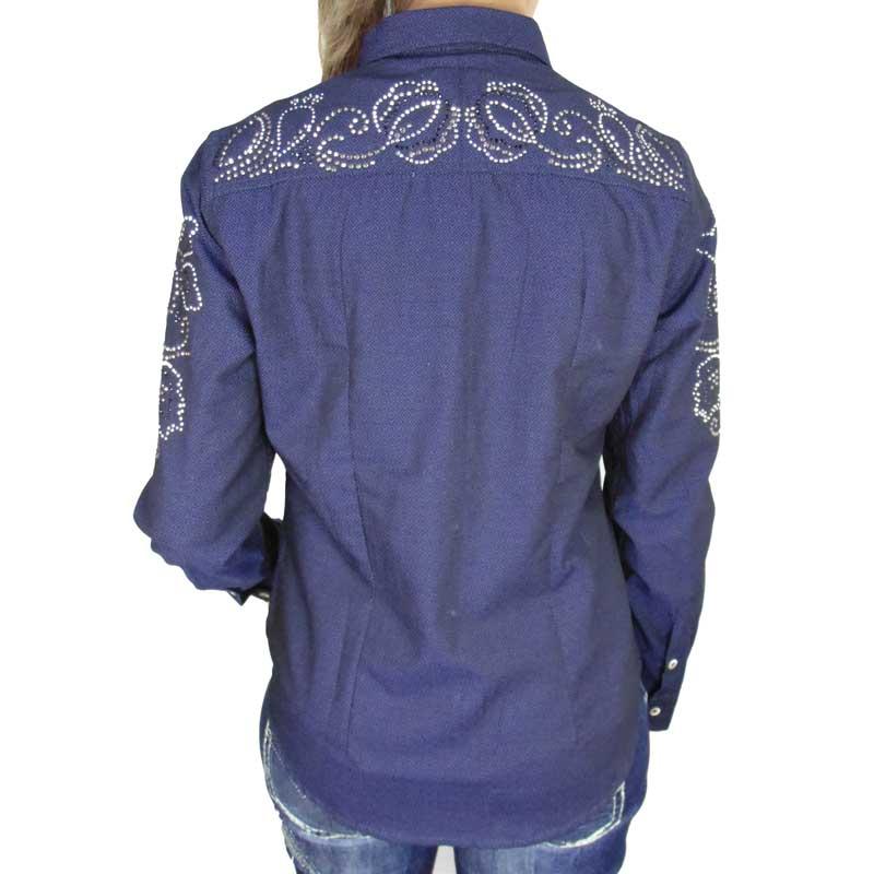 Camisa Country Feminina Strass Marinho Alabama