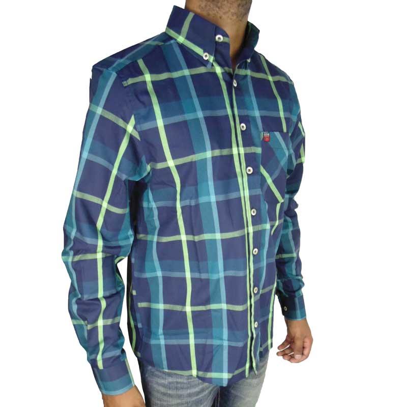 Camisa Country Masculina Os Vaqueiros Azul e Verde