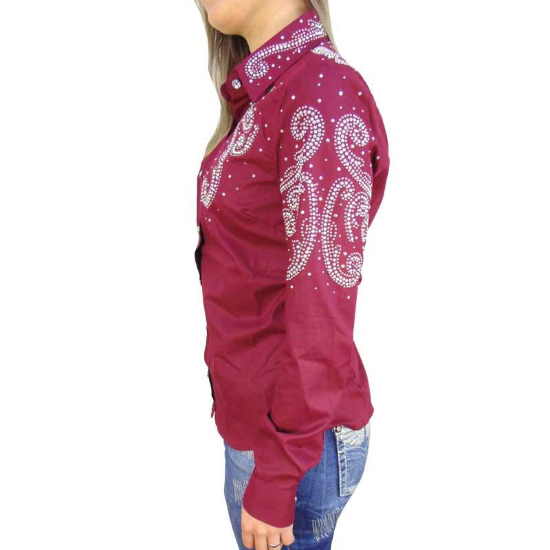 Camisa Feminina Strass Vinho Alabama