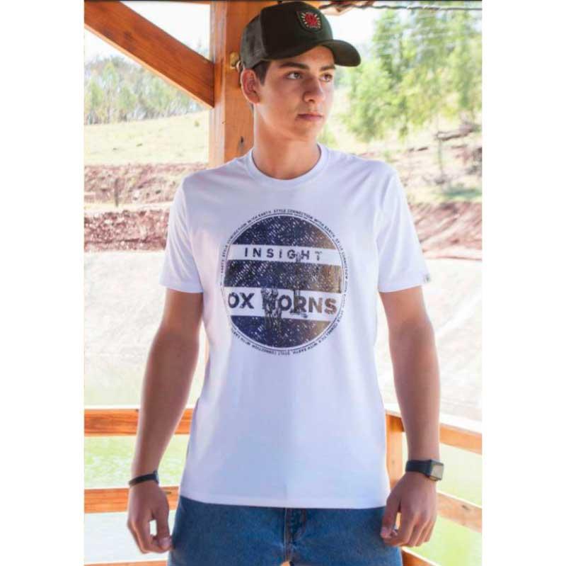 Camiseta Country Masculina Ox Horns Branca 1271