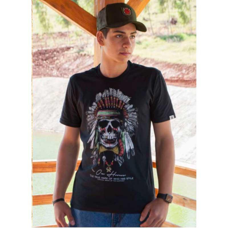 Camiseta Country Masculina Ox Horns Caveira 1296