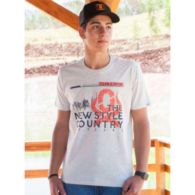 Camiseta Country Masculina Ox Horns Cinza1275