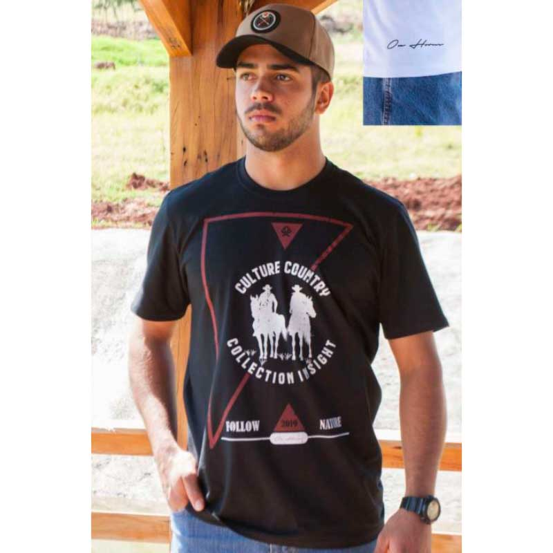 CAMISETA COUNTRY MASCULINA OX HORNS PRETA 1262