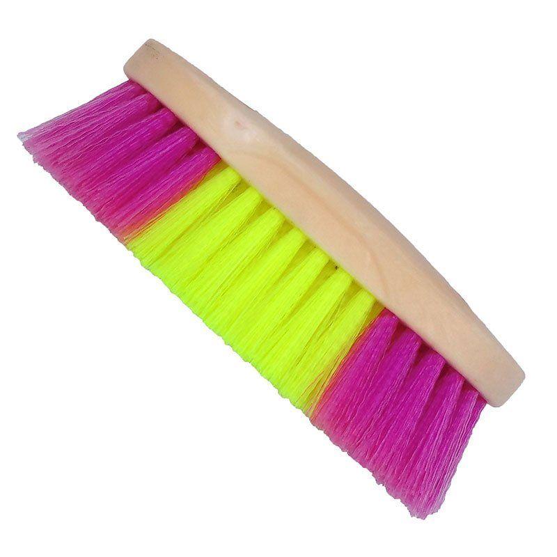 Escova para Cavalo Colorida Rosa e Amarela