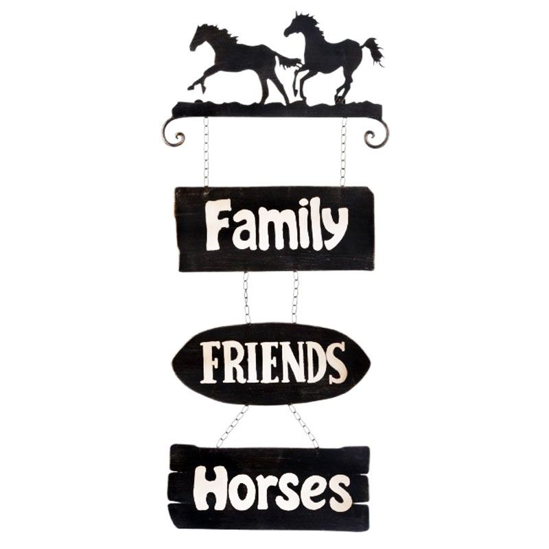 Placa Family Friends Horses Importada