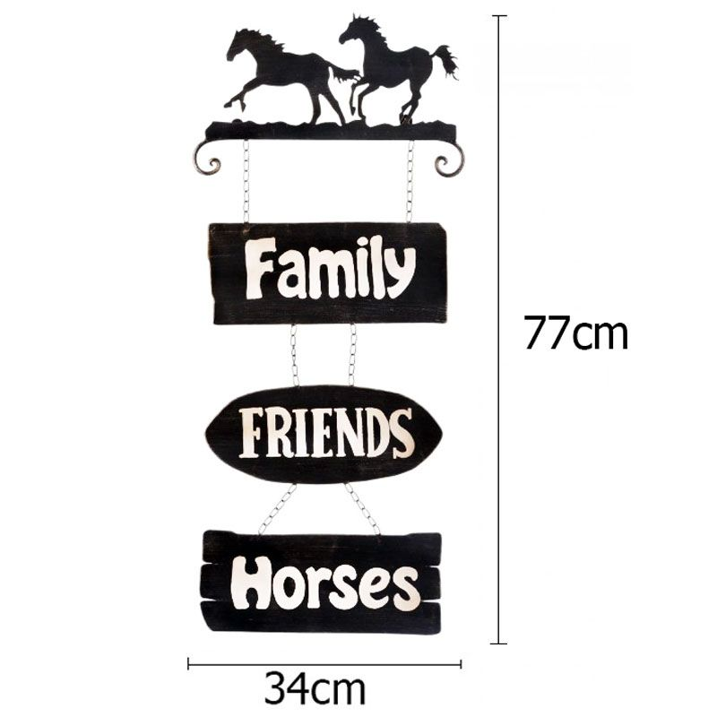 Placa Family Friends Horses Importada