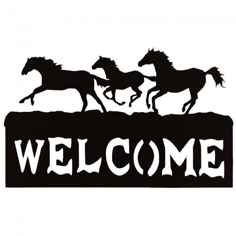 Placa Welcome com Cavalos Toda de Metal