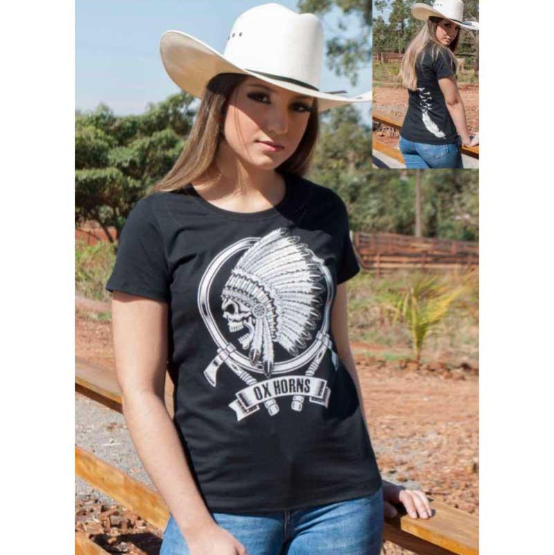 T-Shirt Feminina Ox Horns Com Caveira