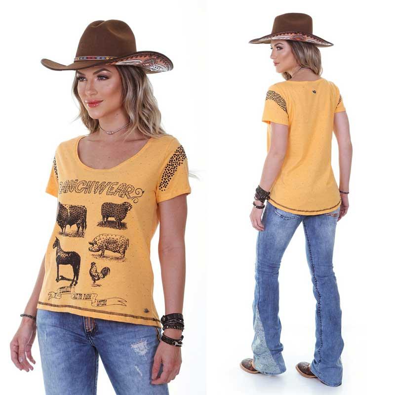 T-shirt Feminina Zenz Farm Ranch Amarela ZW0119011
