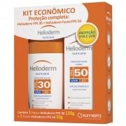 Kit com Helioderm Protetor Facial Diário FPS 50 com 50g + Helioderm Protetor Solar FPS 30 com 120mg