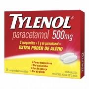 Tylenol Paracetamol 500mg com 20 Comprimidos Revestidos