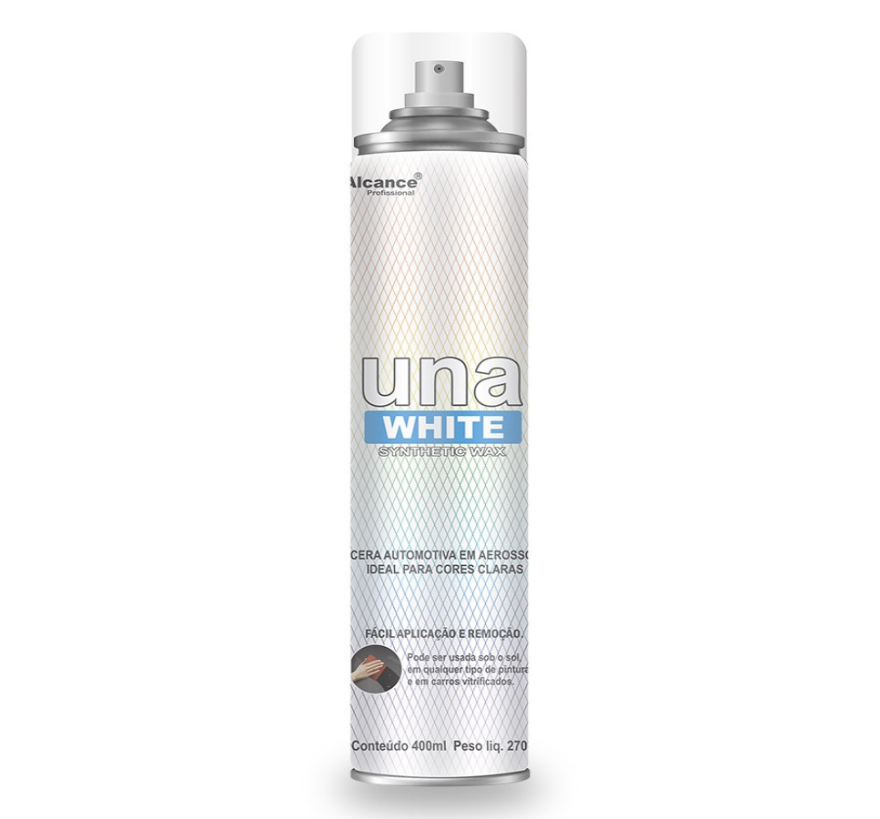 CERA AEROSSOL UNA WHITE SYNTHETIC WAX PARA CORES CLARAS 400ML ALCANCE