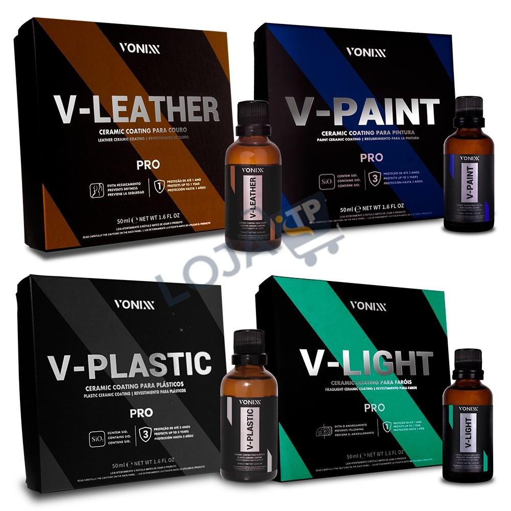 KIT VITRIFICADORES V-LIGHT, V-PAINT, V-LEATHER E V-PLASTIC VONIXX