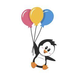 Adesivo de Geladeira Pinguim Balões