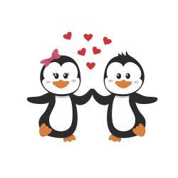 Adesivo de Geladeira Pinguim Couple