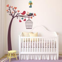 Adesivo de Parede Árvore Passarinho com Bebê