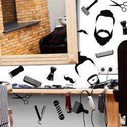 Adesivo de Parede Barbearia Icones