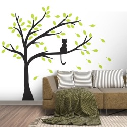 Adesivo de Parede Gato na Árvore