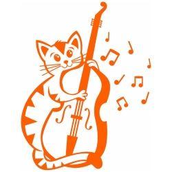 Adesivo de Parede Gato Violonista