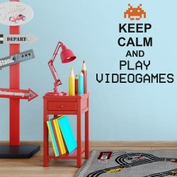 Adesivo de Parede Keep Calm and Play Videogames