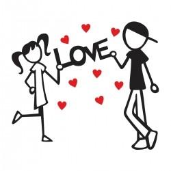 Adesivo de Parede Love Hearts