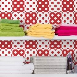 Adesivo para Azulejo Bolinhas Vermelho e Branco