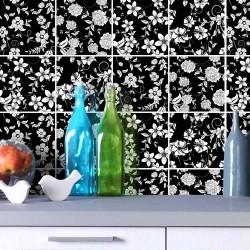 Adesivo para Azulejo Floral Black