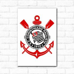 Corinthians - Placa Decorativa Logo Branco