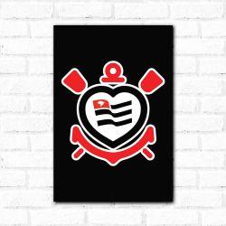 Corinthians - Placa Decorativa Coração Preto