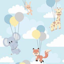 OUTLET - 1 Rolo de Papel de Parede Animais Balões 0,60 x 3,00 metros