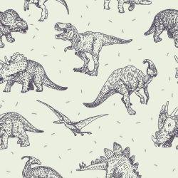 OUTLET - 1 Rolo de Papel de Parede Dinossauro Lines 0,60 x 3,00 metros