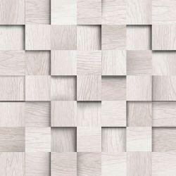 OUTLET - 1 Rolo de Papel de Parede Madeira Cubo Gray 0,60 x 1,00 metros